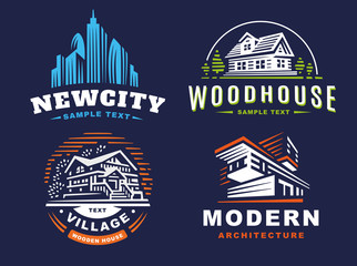 Architectural emblems Set on dark background