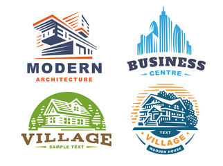 Architectural emblems Set on white background