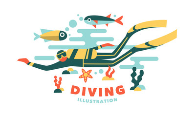 Vector illustration underwater diver surrounded fish