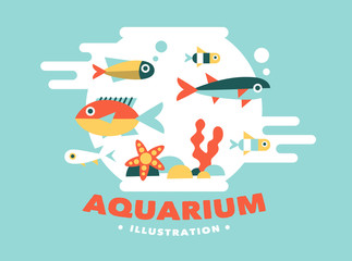 illustration aquarium with fish, flat style
