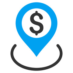 Dollar Location icon. Vector style is bicolor flat iconic symbol with rounded angles, blue and gray colors, white background.