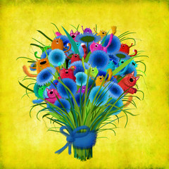 Bunch Of Blue Flowers And Colorful Cats