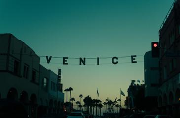 Sunset over Venice Beach, California, America, USA