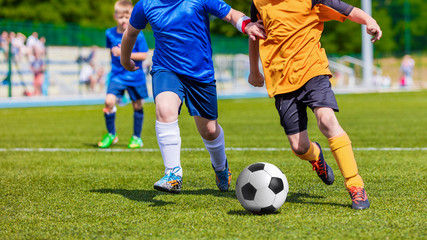 Children Playing Soccer Football Match. Sport Soccer Tournament for Youth Teams