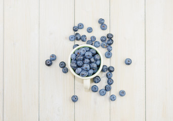 Mug filled with blueberries on white background.