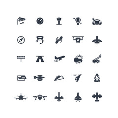 Airplanes and flight black vector icons