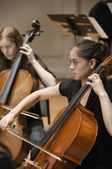 Musicians playing cello in orchestra