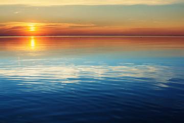 Lake tranquil sunset