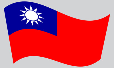 Flag of Taiwan waving on gray background