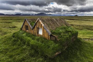 Overgrown sod house in rural landscape