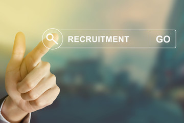 business hand clicking recruitment button on search toolbar