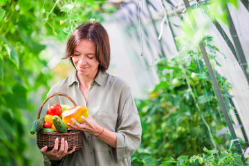 Young woman with basket full of vegetables in the greenhouse. Time to harvest.