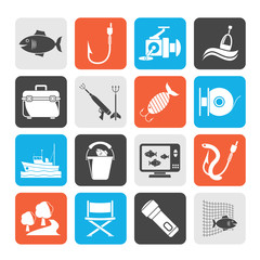 Silhouette Fishing industry icons - vector icon set