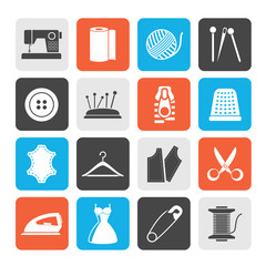 Silhouette sewing equipment and objects icons - vector icon set