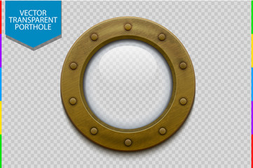 Illustration of a bronze or brass ship porthole with glass isolated on transparent background. Rivets mount.