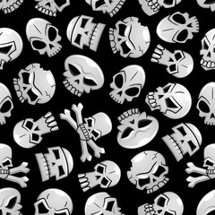 Halloween skeleton skulls seamless background
