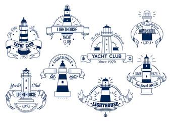Lighthouse. Yacht Club emblem. Nautical badge