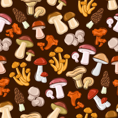 Forest mushrooms seamless background