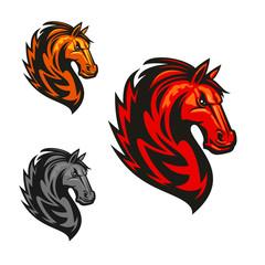 Horse stallion heraldic vector icons