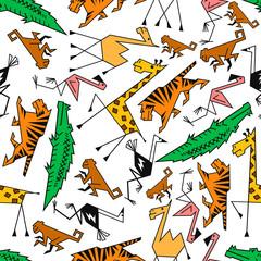 African and jungle cartoon safari animals