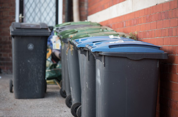 Row of wheelie bins outside awaiting collection with green and blue lids