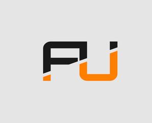 FU negative space letter logo
