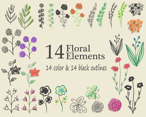 The set of hand-drawn vector decorative elements