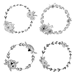 Hand-drawn vector set of vintage floral wreathes