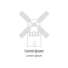 Unique modern logotype with wind mill
