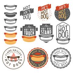Set of vintage hot dog labels, badges, emblems and design elements