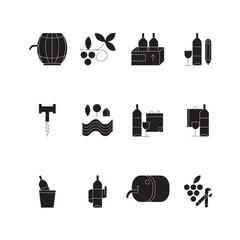 Vector wine line icons.