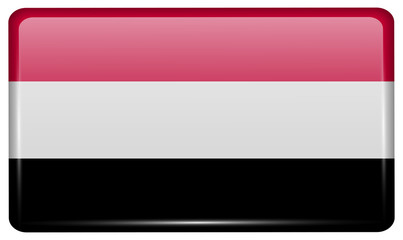 Flags Yemen in the form of a magnet on refrigerator with reflections light. Vector