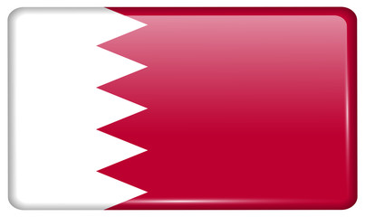 Flags Bahrain in the form of a magnet on refrigerator with reflections light. Vector