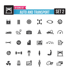 30 icons set auto and transport isolated on the white background