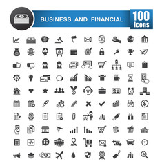 100 icons set of business and financial isolated on white backgr