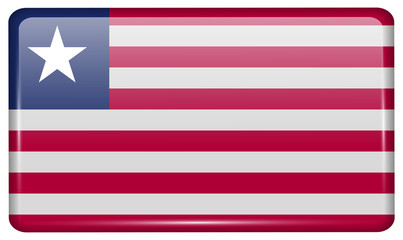 Flags Liberia in the form of a magnet on refrigerator with reflections light. Vector