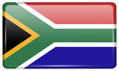 Flags South Africa in the form of a magnet on refrigerator with reflections light. Vector