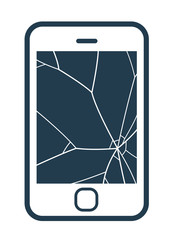 Mobile phone icon with smashed screen
