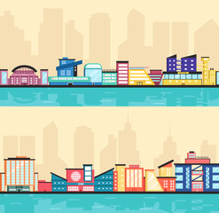 Set of public buildings. Modern architecture. Flat vector illustration.