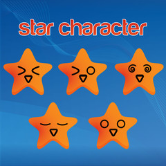 collection of cute star character