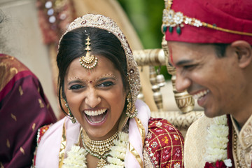 Indian bride and groom in traditional clothing