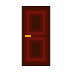 Dark wooden door icon in flat style isolated on white background