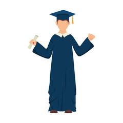 man boy hat graduate graduation gown cap achievement vector illustration isolated