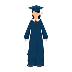 women girl hat graduate graduation gown cap achievement vector illustration isolated