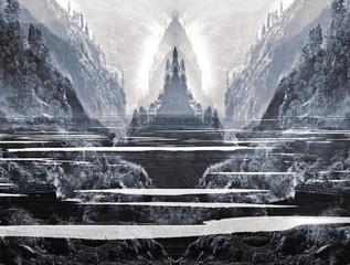 Imaginary sacred world of mystical Shambhala.