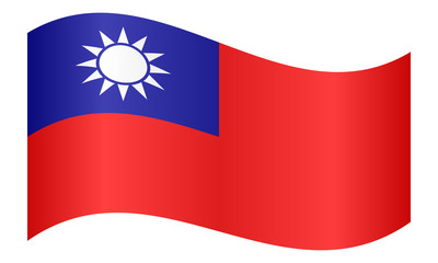 Flag of Taiwan waving on white background