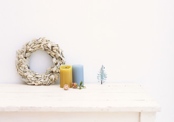 Advent wreath on a wooden surface