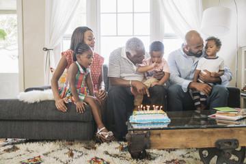 African American family celebrating birthday