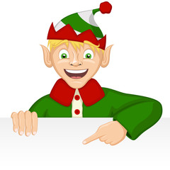 Vector illustration of a smiling cartoon elf holding a blank white sign.