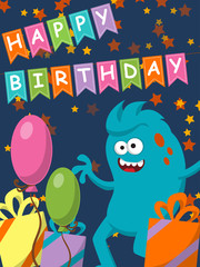 Funny monster with gifts and balloons. Happy Birthday. Vector